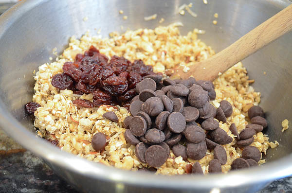 Dried cherries and dark chocolate chips added to oat mixture.