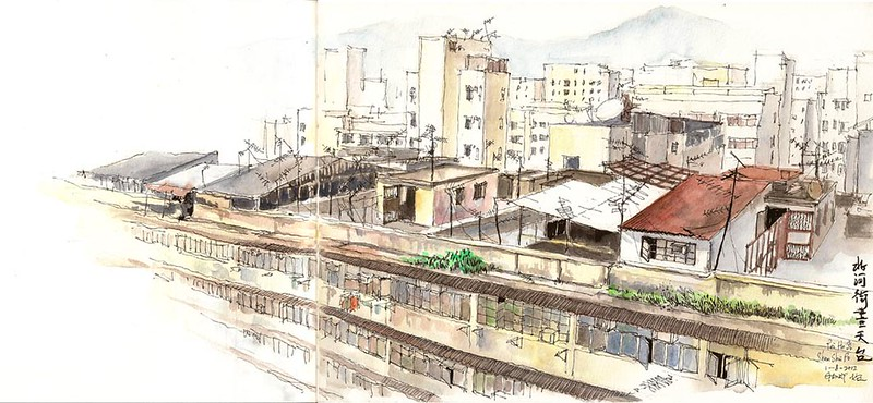 Sketching Rooftops in Sham Shui Po 北河街畫天台