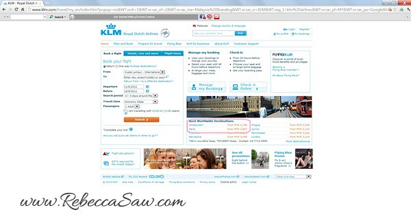 KLM site screenshot - Paris and Amsterdam flight price