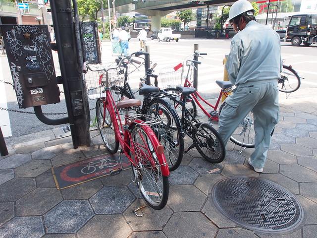 日本遇到禁停腳踏車的處理方式