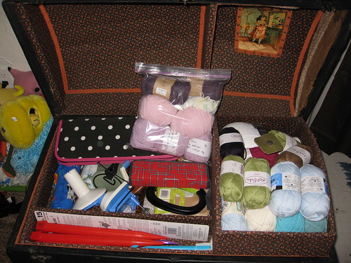tray - soft cottons, needles, hooks, ball winder, etc