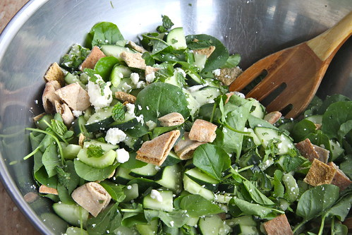 Pita Bread Salad with Cucumber, Mint and Feta