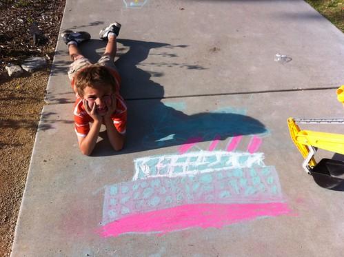 Ezra's chalk Titanic