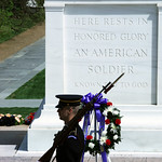 Tomb of the Unknown Soldier - W view with guard and wreath detail - Arlington National Cemetery - 2012
