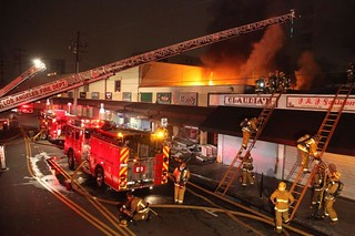 LAFD Battles Intense Fashion District Blaze. LAFD Photo by Harry Garvin, click to view more...
