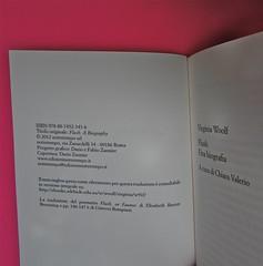 Virginia Woolf, Flush. Una biografia. A cura di Chiara Valerio; nottetempo, Roma 2012. progetto grafico di Dario e Fabio Zannier. colophon e frontespizio (part.), 1