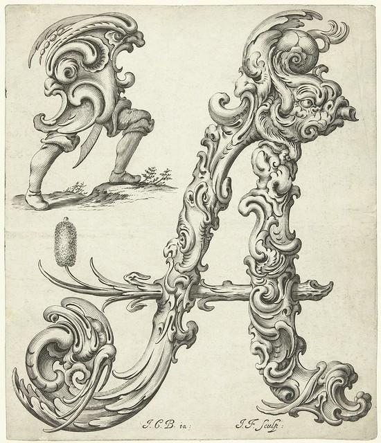 stylised grotesque organic Letter 'A' IN: 'Libellus novus elementorum Latinorum cum aeneis picturis usui aurifabrorum inservientib'