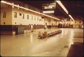 St. Louis, Missouri, Union Station as it appeared in the summer of 1974. Amtrak has renovated many of its terminals since taking responsibility for most U.S. intercity rail passenger service from the nation's railroads, June 1974