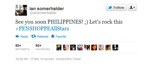 tweet_ian somerhalder for penshoppe