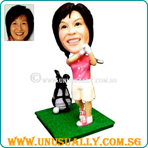 Personalized 3D Female Golfer Figurine - © www.unusually.com.sg