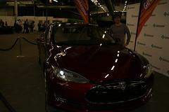 automobile, tesla, exhibition, vehicle, performance car, automotive design, auto show, land vehicle, supercar, sports car,