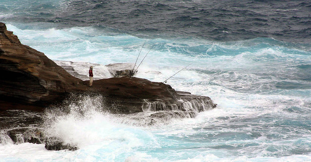 Who says fishing is not a sport the northeastern coast of for Shore fishing oahu