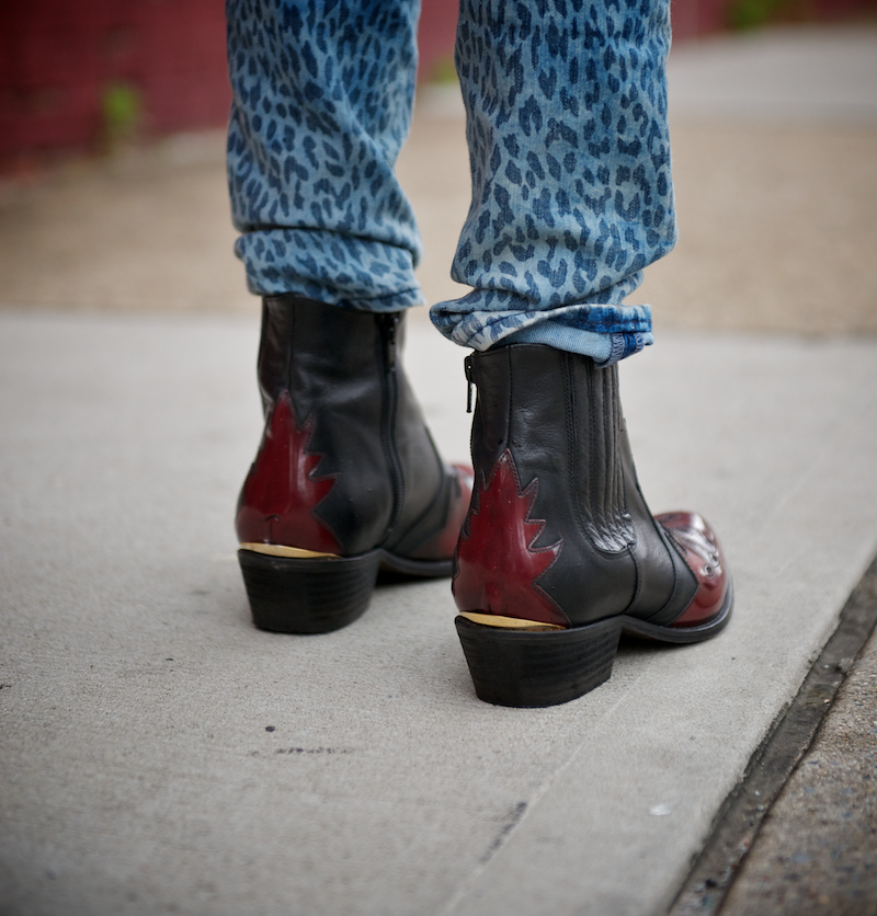 Arson flame western boot