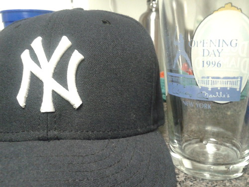 Yankees cap, Mickey Mantle's glass