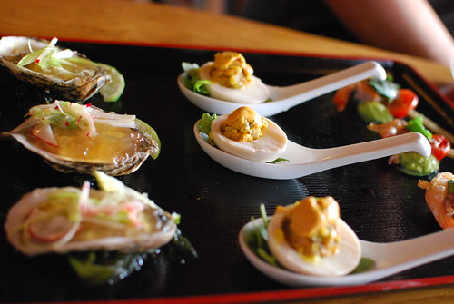 Oysters, Deviled eggs with uni!, shrimp