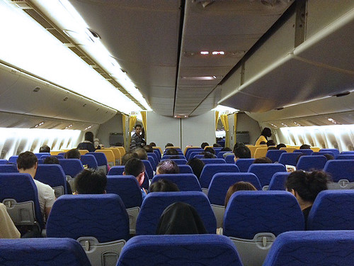 The interior of the Boeing 777-200 used by Scoot