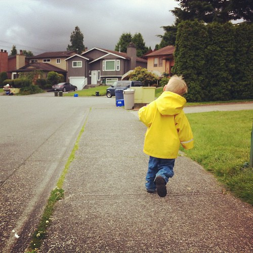 Running home from dropping his big sister off at school