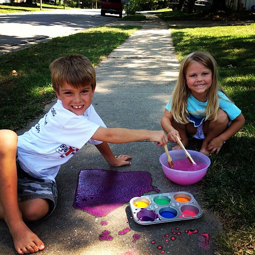 Sidewalk paint time at Hough house!