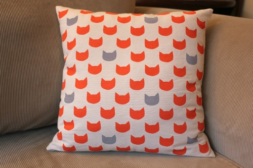 grey cats ginger cushion - back - 40 x 40 cm