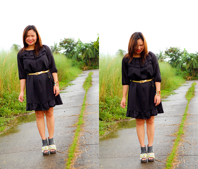 thrifted black dress, Gojane wedges