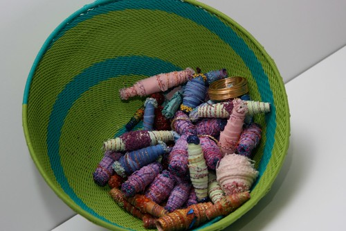 Making Fabric Beads from old fabric