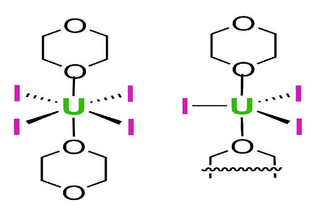 This illustration shows the structures of UI4(1,4-dioxane)2 (left) and the UI3(1,4-dioxane)1.5 complexes.