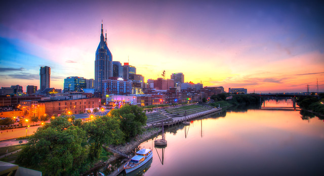 Sunset Downtown Nashville Tennessee