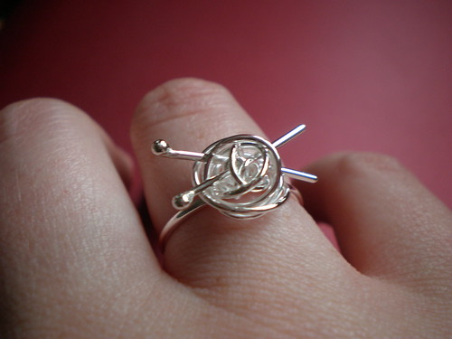 Silver Knitting Ring 2