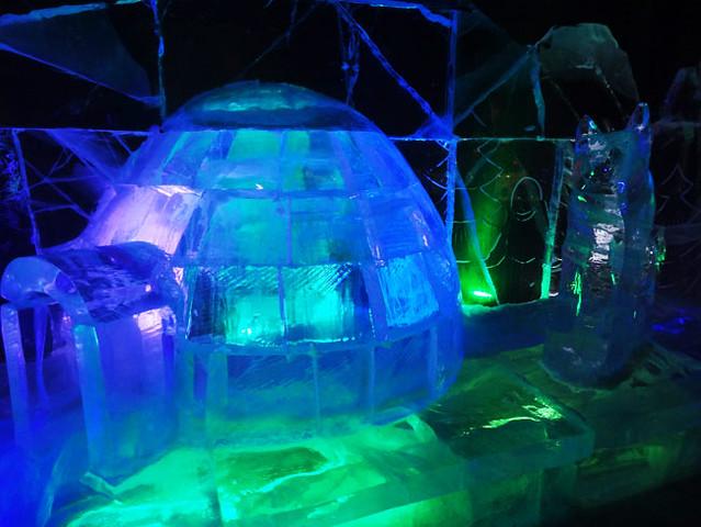 Ice igloo carving