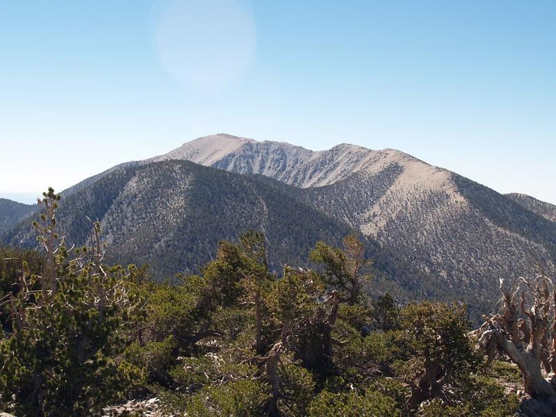 Charlton Peak, San Gorgonio Mountain, and Jepson Peak from the summit of Shields Peak