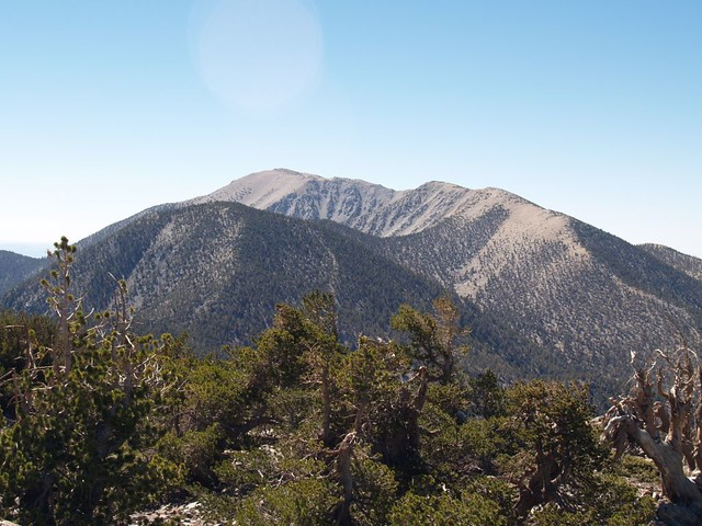 Charlton Peak, San Gorgonio Mountain, and Jepson Peak from the summit of Shields Peak