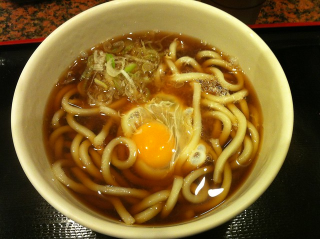 """Tsukimi Udon"", ""wheat noodle with raw egg"", つきみうどん, 月見うどん"