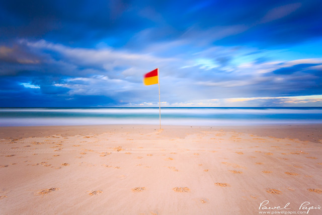 Famous surf lifesaver flag in Gold Coast.