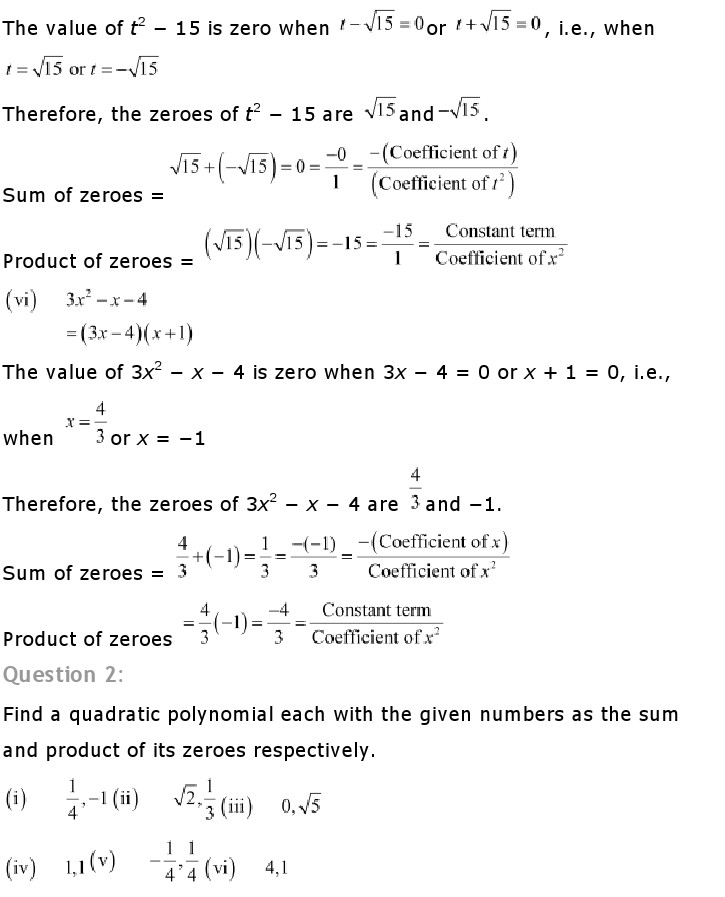 NCERT Solutions For Class 10th Maths Chapter 2 Polynomials PDF Download 2018-19 freehomedelivery.net