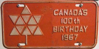 NEW BRUNSWICK 1967 ---OPTIONAL FRONT PLATE ---#3 100th BIRTHDAY