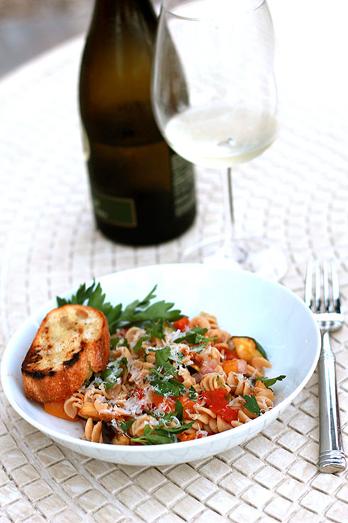 grilled summer ratatouille pasta