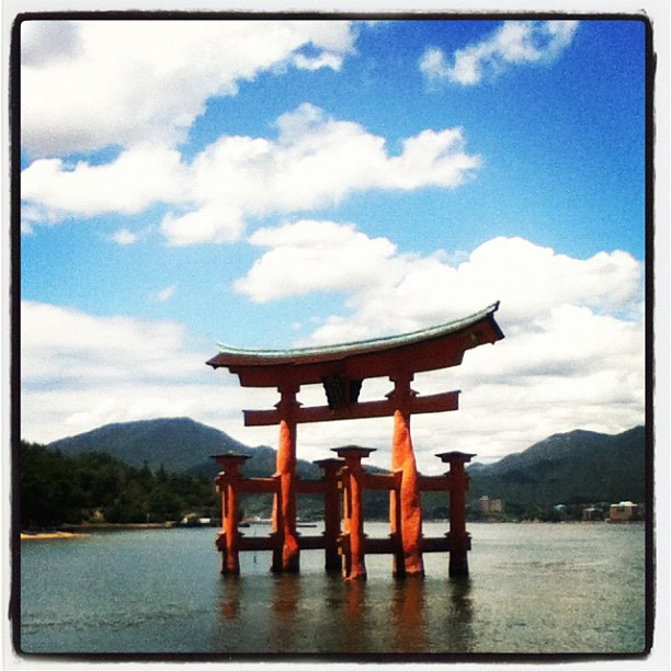 "Floating torii gate at Miyajima - one of Japan's ""3 Notable Views""."