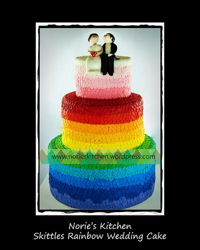 Norie 39s Kitchen Skittles Rainbow Wedding Cake by Norie 39s Kitchen