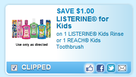 Listerine Kids Rinse Or Reach Kids Toothbrush Coupon