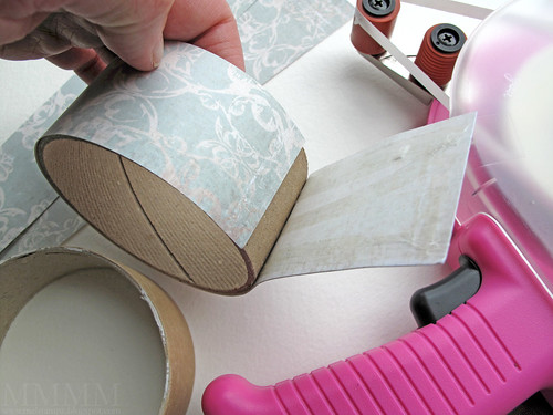 Step 12) Stick the patterned paper on the outside of the top ring