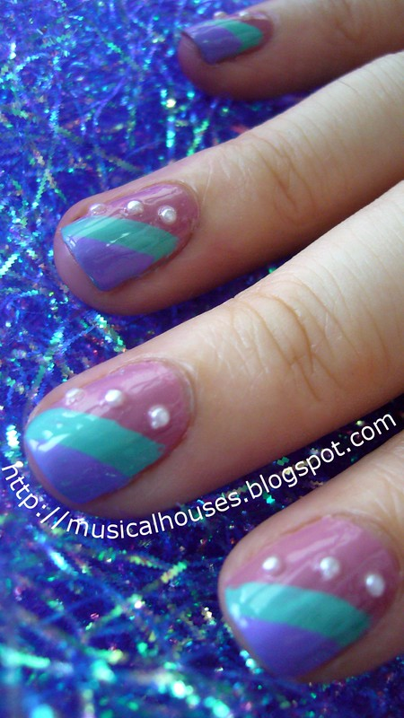 spring nail art stripes pearls 3