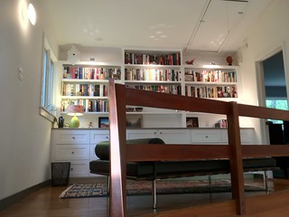 New bookcases in the loft with lots of drawer storage below.  Ikea bookcase lights top it off.