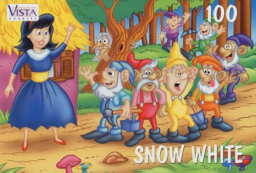 "VISTA PUZZLES :: ""SNOW WHITE"" - 100 Piece Jigsaw Puzzle { Art by Lavigne & Brown } (( 199x ))"