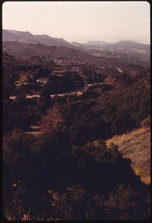 View of the Santa Monica Mountains along Mulholland Drive near Malibu, California, which is located on the northwestern edge of Los Angeles, May 1975