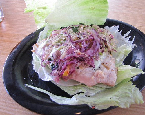 Albacore Tuna Burger served in a lettuce wrap