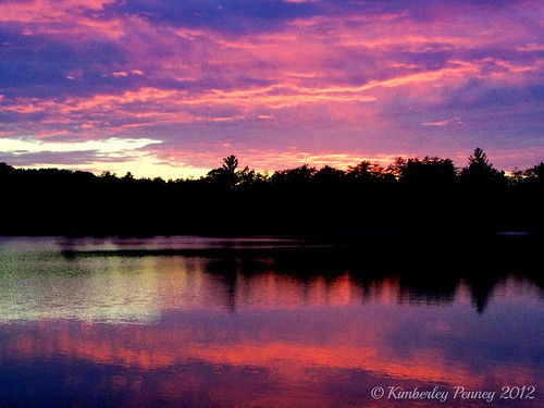 pink blue sunset red sky lake reflection water colors purple