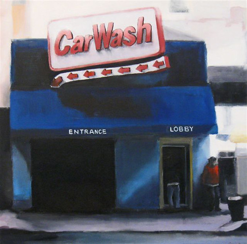 "Stephen Coyle, Car Wash, alkyd on panel, 16"" x 16"""