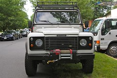 off-roading(0.0), automobile(1.0), automotive exterior(1.0), sport utility vehicle(1.0), vehicle(1.0), land rover(1.0), land rover defender(1.0), off-road vehicle(1.0), bumper(1.0), land vehicle(1.0),