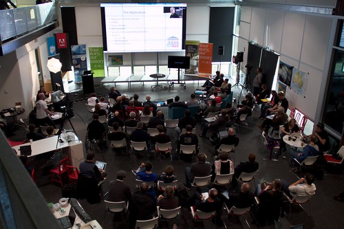 Photo taken from the top floor, over looking the crowd at GovHack Canberra