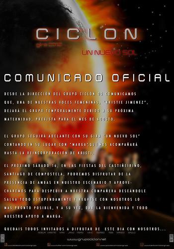 Grupo Ciclón 2012 - Comunicado